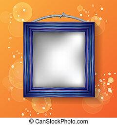 blue frame on a orange background