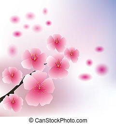 colorful illustration with cherry flowers for your design