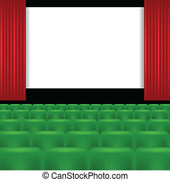 cinema screen and green seats