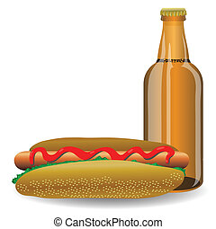 hot dog and bottle of beer
