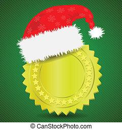gold medal and Santa hat