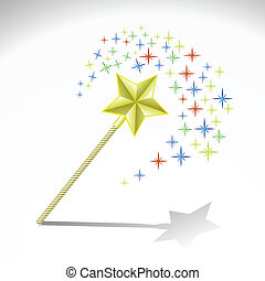 magic wand - colorful illustration with magic wand for your...