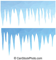 blue icicles - colorful illustration with polygonal blue...