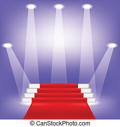 red carpet - colorful illustration with red carpet on blue...