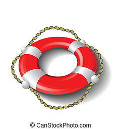 red lifebuoy - colorful illustration with red lifebuoy for...