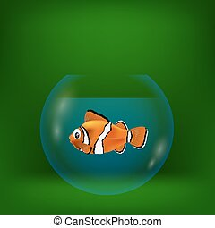 colorful illustration with sea clown fish