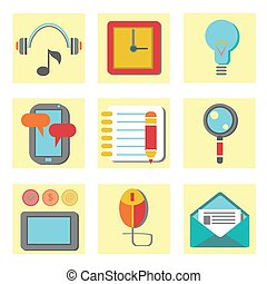 set of flat icons for web appplication - colorful...