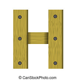 wood letter H - colorful illustration with wood letter H a...