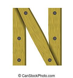 wood letter N
