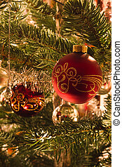 Colorful image of balls in christmas tree