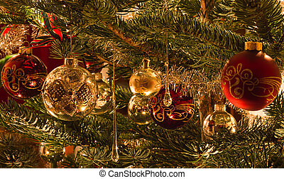 Colorful image of decoration in christmas tree