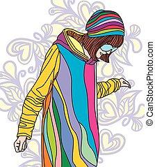 Colorful image of fashion girl