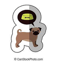 colorful image with middle shadow sticker with french bulldog thinkin food bowl