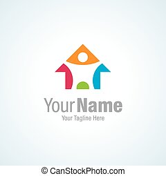 Colorful imaginative home restoration graphic design logo...