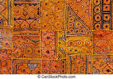 Colorful indian fabric textile. India