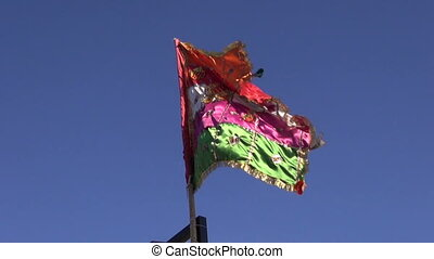 colorful indian flag on blue sky