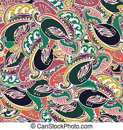Colorful Indian paisley seamless background