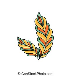 Colorful indian pattern. Abstract feathers. Beautiful ethnic ornament. Creative vector design