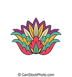 Colorful indian pattern. Floral decorative arabesque. Ethnic ornament. Vector element for notebook cover or postcard