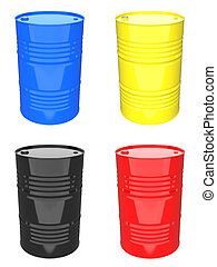 Colorful Industrial Barrel - Set of 3D Illustrations.