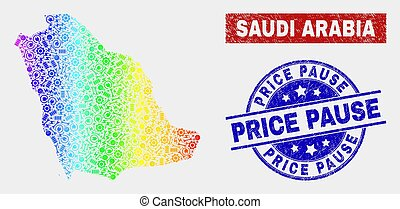 Colorful Industrial Saudi Arabia Map and Grunge Price Pause Stamp Seals