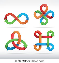 Colorful infinity symbol icons.