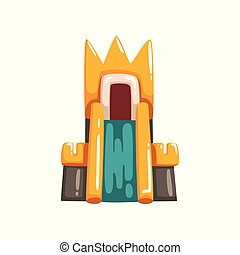 Colorful inflatable castle with slide, summer amusement park bouncy equipment vector Illustrations on a white background