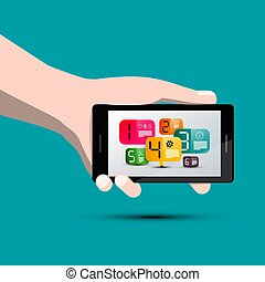Colorful Infographic Business Layout on Mobile Phone Screen in Human Hand
