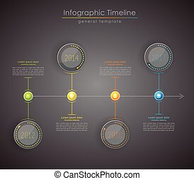 Colorful Infographic, typographic timeline report template - dark version.