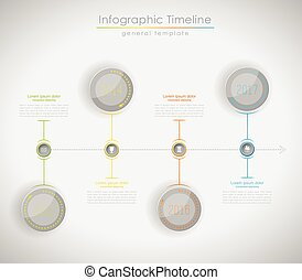 Colorful Infographic, typographic timeline report template - light version.