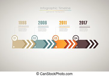 Colorful Infographic, typographic timeline report template with years - light version.