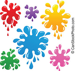 Colorful ink blots collection 1 - vector illustration.