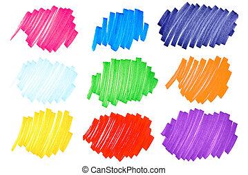 Colorful ink blots-very large-set2 - Detailed macro of very...
