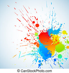 Colorful ink - Colorful bright ink splashes with place for...