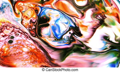 Colorful Ink Pattern Grunge Big Bang Chaos Spread on Milk...