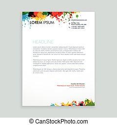 colorful ink splash letterhead