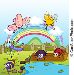 Colorful insects - Illustration of colorful insects and...