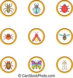 Colorful insects icons set, cartoon style