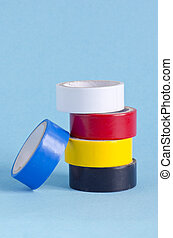insulating tape on azure background - colorful insulating ...