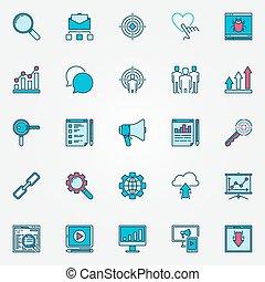 Colorful internet marketing icons