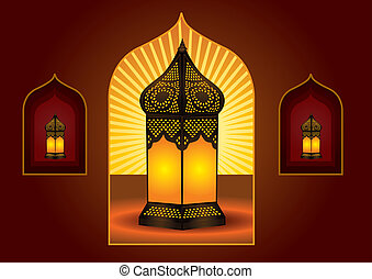 Colorful intricate arabic lantern for eid or ramadan...
