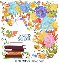 Colorful invitation card with autumn nature and stack of books.