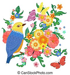 colorful invitation card with happy bird sitting on flowering br