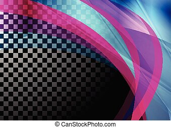 Colorful iridescent transparent waves abstract background
