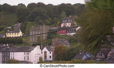 A blur to focus shot of Irish houses.