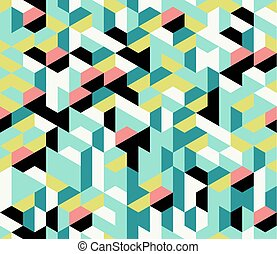 Colorful irregular abstract geometric seamless pattern with hexagons, vector illustration.