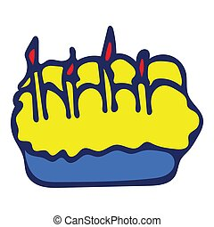 Colorful Isolated Doodle Sketch Vector Illustration. Hand-Drawn Cake.