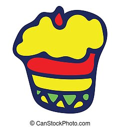 Colorful Isolated Doodle Sketch Vector Illustration. Hand-Drawn Cupcake.