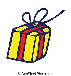 Colorful Isolated Doodle Sketch Vector Illustration. Hand-Drawn Gift Box.