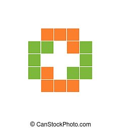 Colorful isolated mosaic cross logo. Tile element. Religious sign. Medical symbol. Hospital ambulance emblem. Doctor s office icon. Health care . Vector illustration.